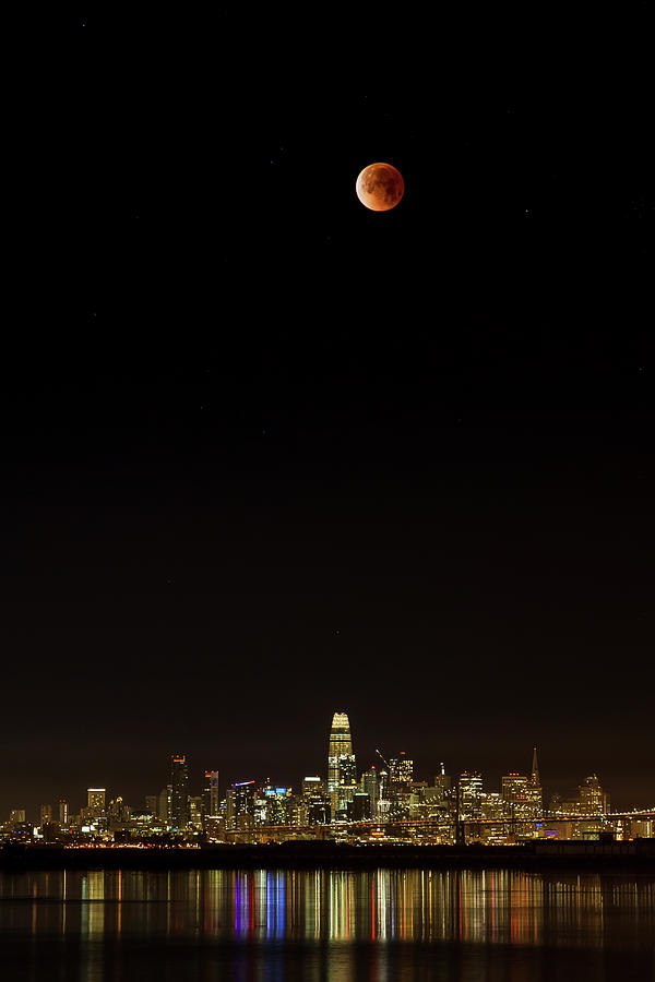 Super Blue Moon Lunar Eclipse Over The San Francisco Skyline Photograph