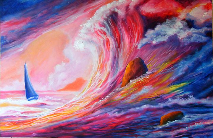 Sea Painting - Super Breaker by Leonard Aitken