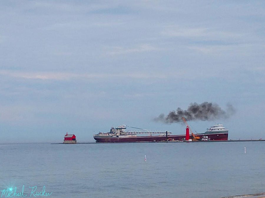 Lighthouse Photograph - Super Freighter Grand Haven Lighthouse by Michael Rucker