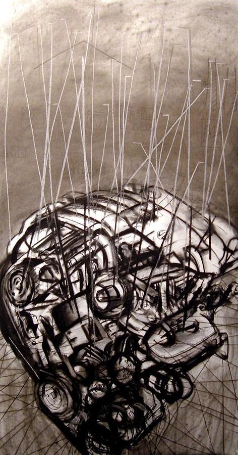 Charcoal Drawing - Super Mega Power by John  Stidham