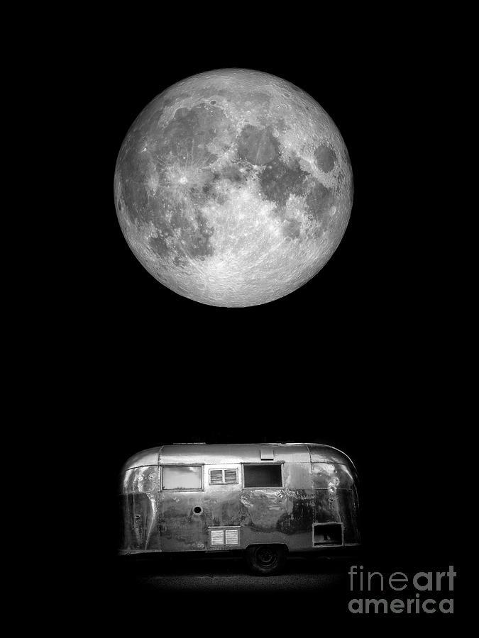 Airstream Photograph - Super Moon Airstream 3 4 by Edward Fielding