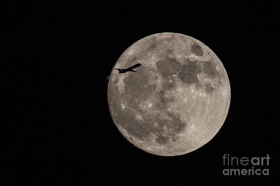 Full Moon Photograph - Super Moon And Plane by Jennifer Ludlum