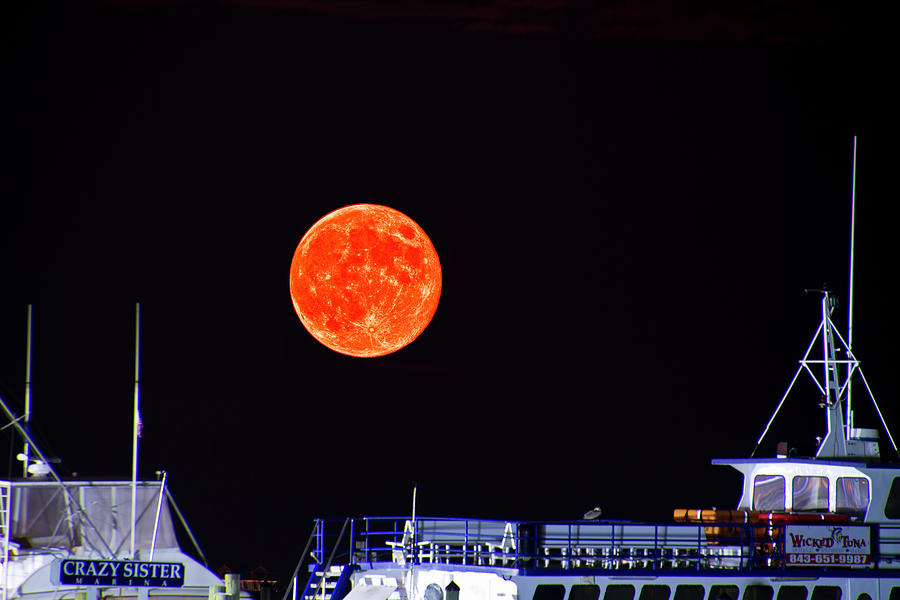 Super Moon over Crazy Sister Marina by Bill Barber