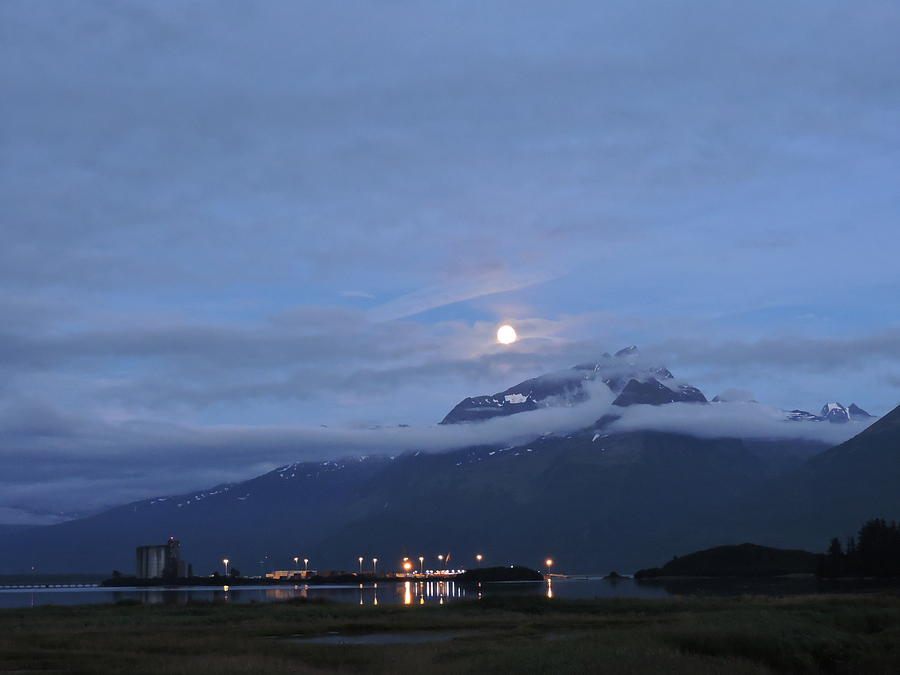 Moon Photograph - Super Moon Over Valdez, Alaska by Denise   Hoff