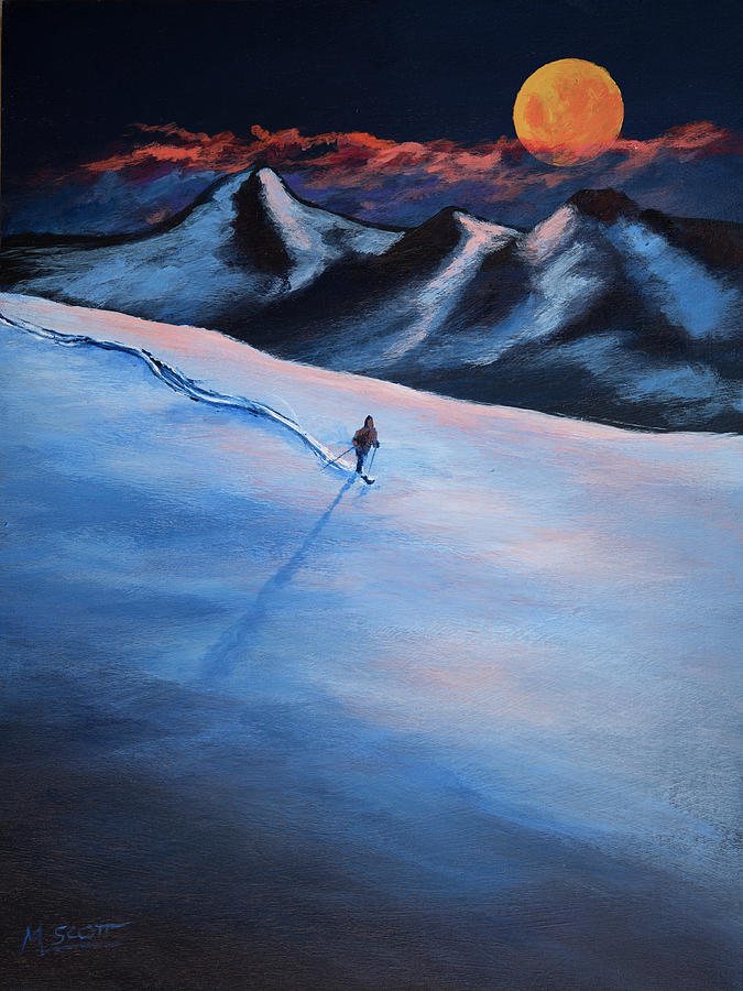 Super Moon Winter Adventure 13 Painting By Michael Scott