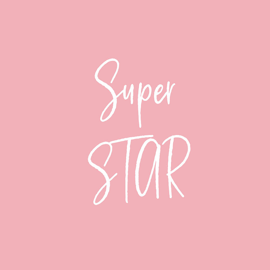 Pink Digital Art - Super Star White On Pink- Art By Linda Woods by Linda Woods