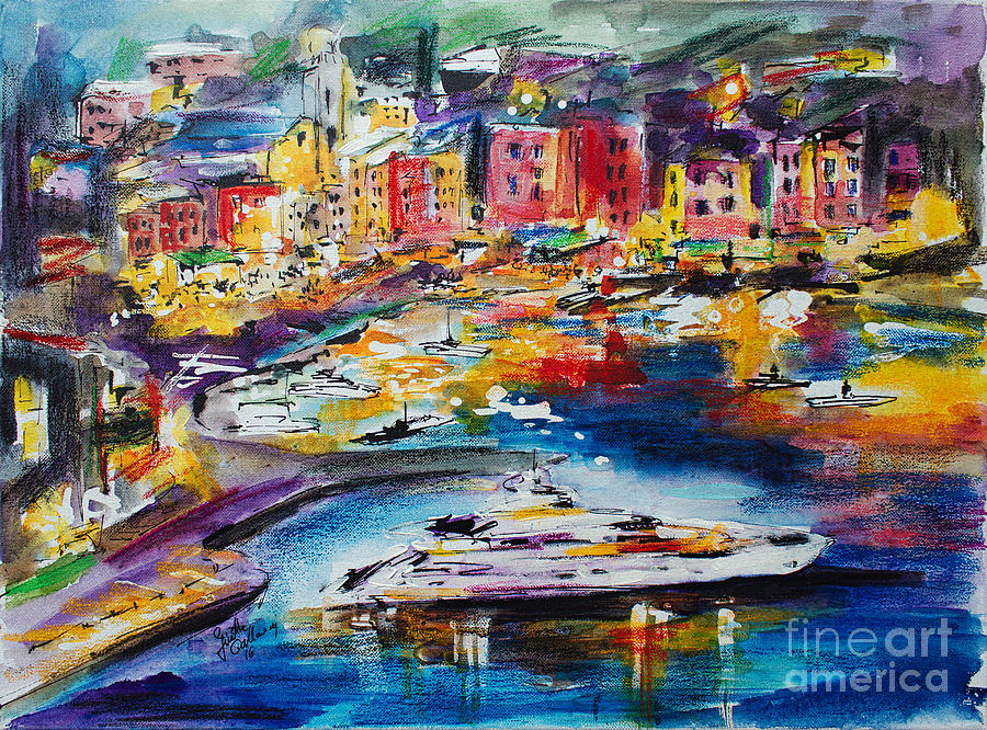 Evening in Portofino Italy Super Yacht Travel Painting by Ginette Callaway