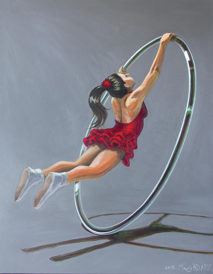 Performing Arts Painting - Supergirl On Cyr Wheel  by MAD Art and Circus