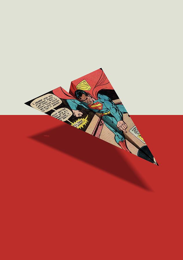 a794606d1bef Ad Digital Art - Superhero Showdown Ad6 Comic Book Paper Airplane by YoPedro