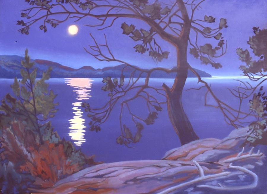 Landscape Painting - Superior Moonlight by Paul Gauthier