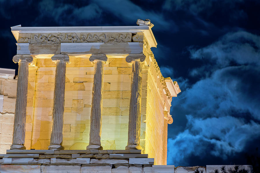 Landscape Photograph - Supermoon In Acropolis by Nikos Stavrakas