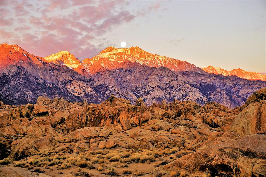 Supermoon Setting at Sunrise over Mount Williamson in the Sierra Nevada Mountains by Tranquil Light Photography