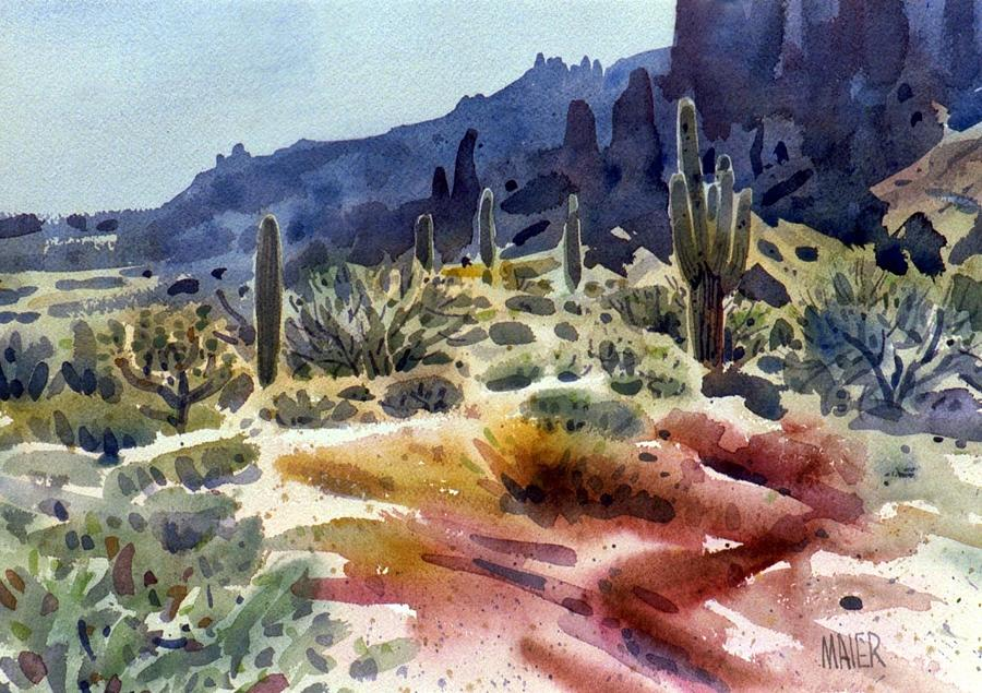 Saguaro Painting - Superstition Mountain by Donald Maier
