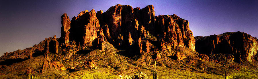 Superstition Mountain Panorama at Sunset by Roger Passman