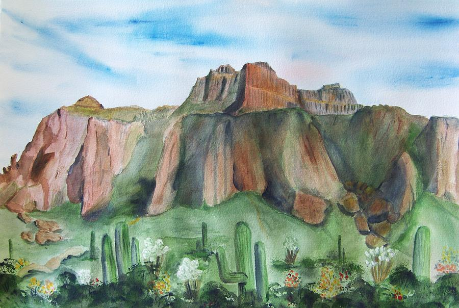 Superstition Mountain Painting - Superstition Mountain by Vivian Larson