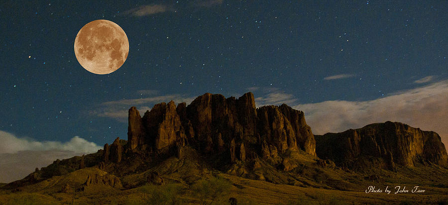Superstition Mountains At Night With Full Moon And Stars ...