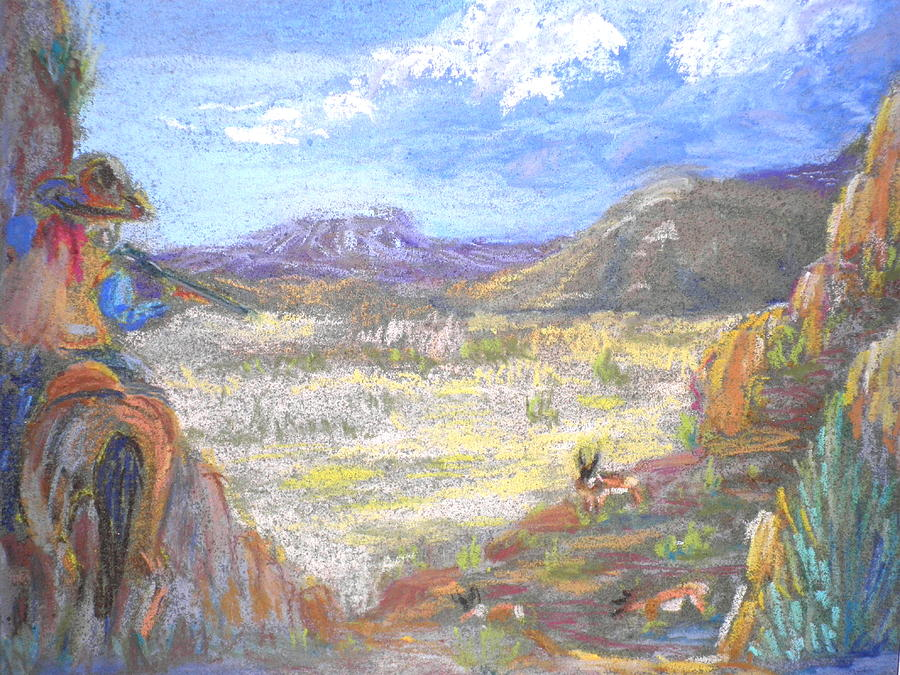Western Painting Pastel - Suprise Attack by Curt Peifley