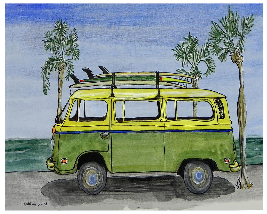 Surf Art Vw Bus And Long Boards Painting By W Gilroy