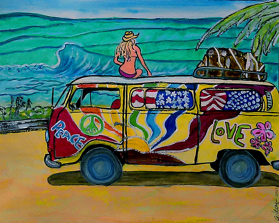 Surf Art Vw Bus Painting By W Gilroy