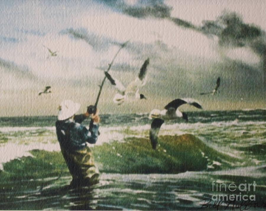 Fishing Painting - Surf Casting For Striped Bass At Gull Rock by Bill Hubbard