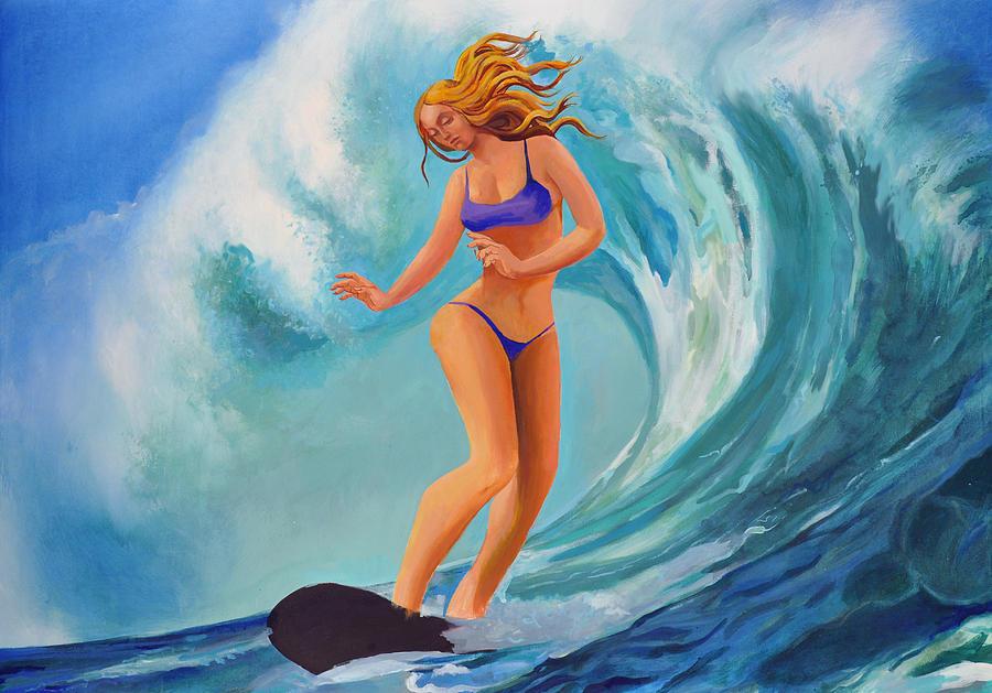 California Painting - Surf Goddess by Geoff Greene