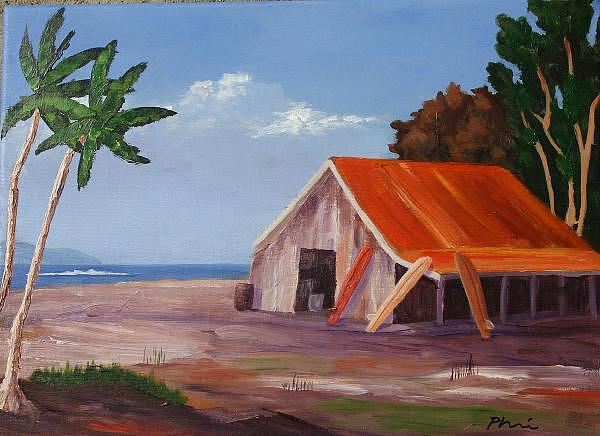 Surf Art Painting - Surf School by Bob Phillips