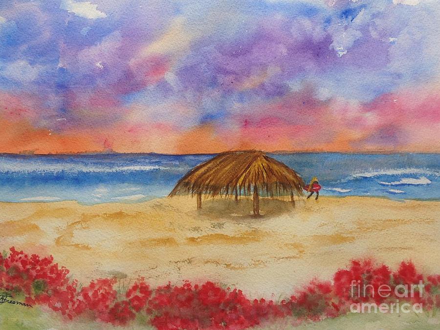 Surfing Painting - Surf Solitude by Jan Freeman
