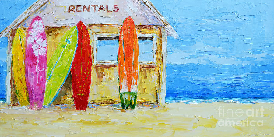 Surf Board Rental Shack At The Beach Modern Impressionist Palette Cool Rental Home Decor Painting