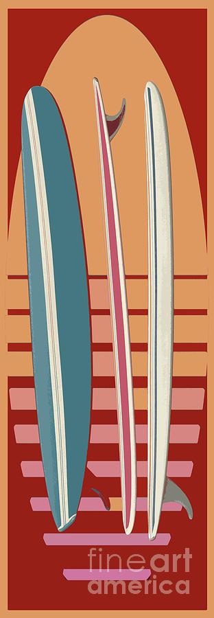 Surf Digital Art - Surfboard Sunset by Edward Fielding