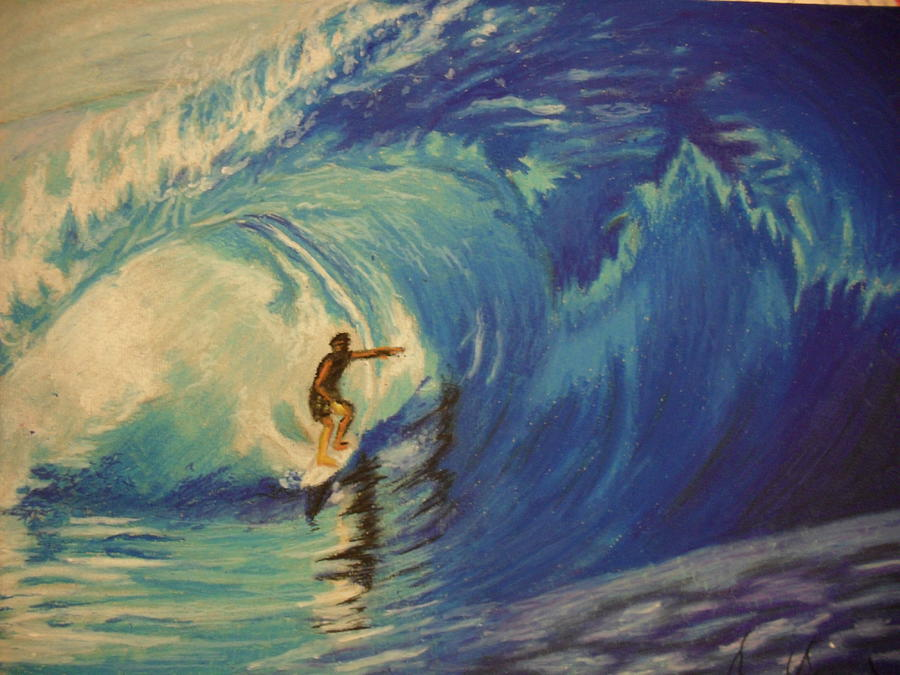 Oil Pastel Stare Realistic Color Eyes Blue Portrait Human People Sea Water Surfer Painting - Surfer by Agnes V