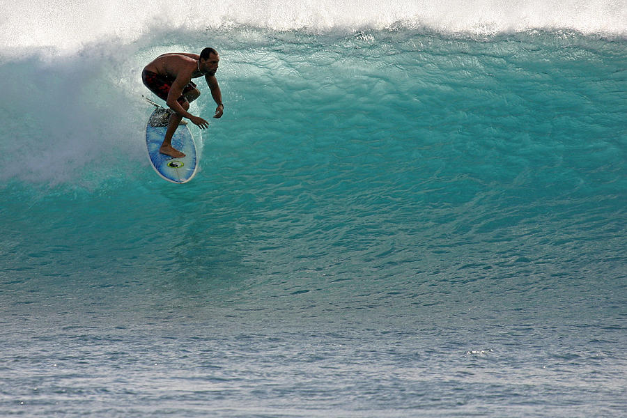 Surfer Photograph - Surfer Dropping In The Blue Waves At Dumps Maui Hawaii by Pierre Leclerc Photography