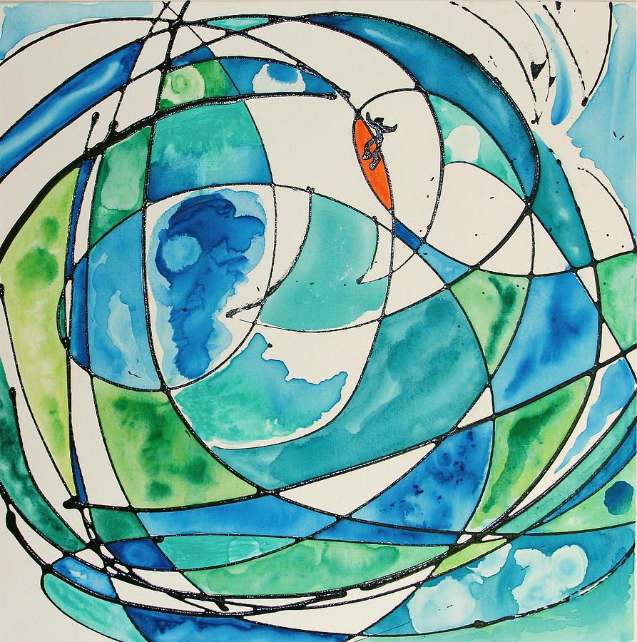 Water Painting - Surfer Dude Rides Again by Dan Koon