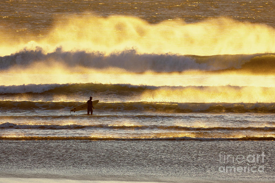 Surfer Photograph - Surfer Faces Wind And Waves, Morro Bay, Ca by Sharon Foelz