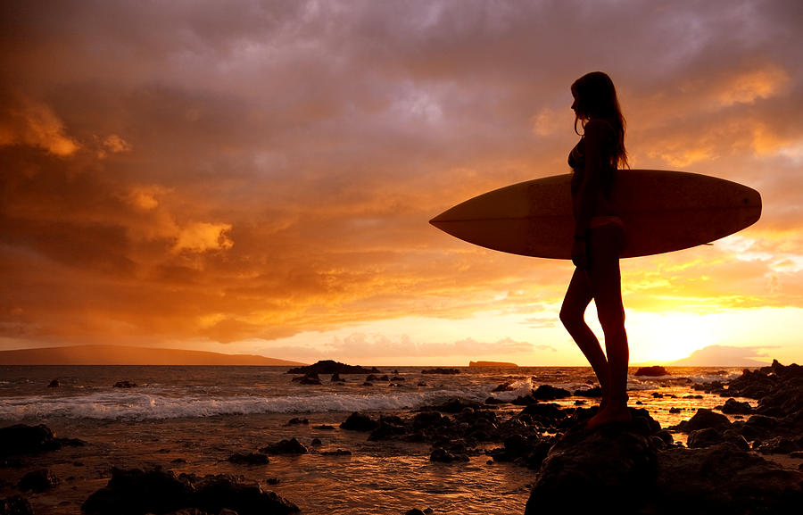 Surfer Girl And Makena Sunset Ii Photograph By Makenastockmedia
