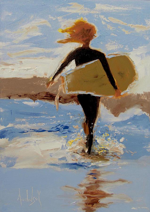 Surfing Painting - Surfer Girl by Barbara Andolsek