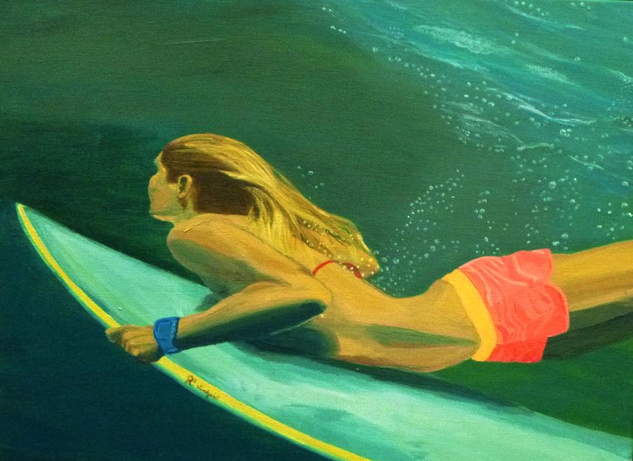 Surfer Girl Duck Dive by Jenn C Lindquist