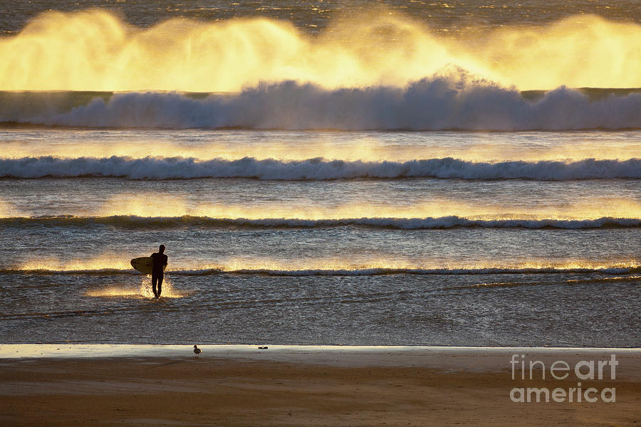 Surfer Photograph - Surfer Heads Into The Waves And Mist by Sharon Foelz