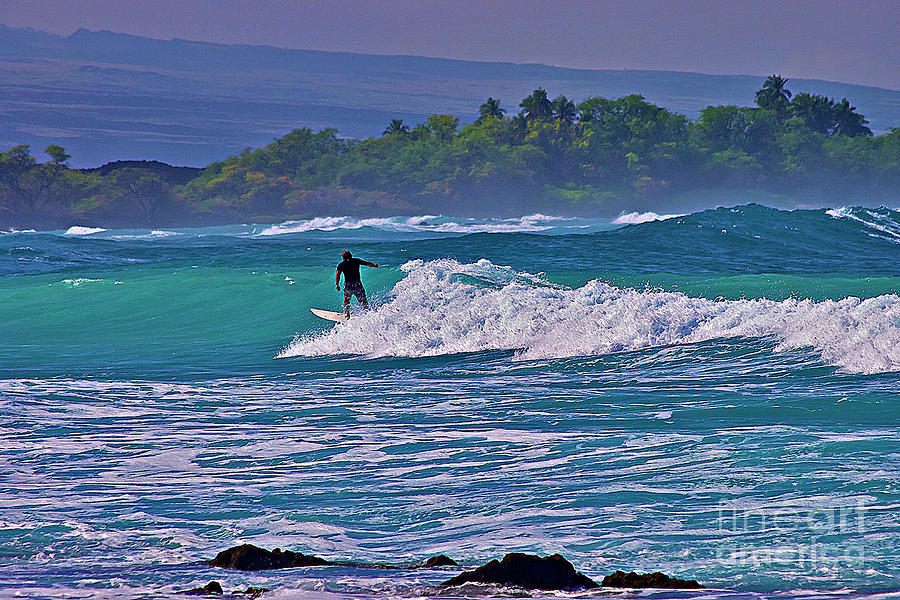 Surfing Photograph - Surfer Rides The Outside Break by Bette Phelan