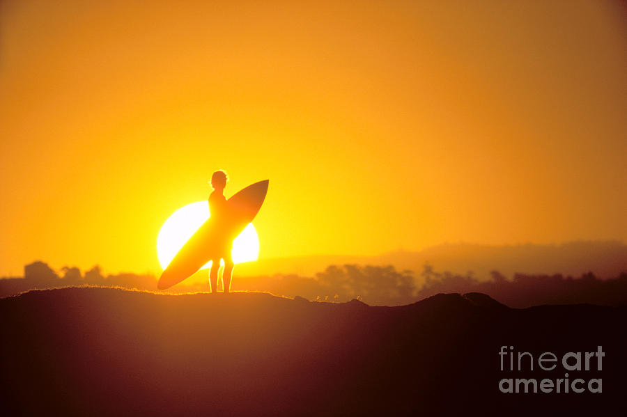 Athlete Photograph - Surfer Silhouetted At Sun by Erik Aeder - Printscapes