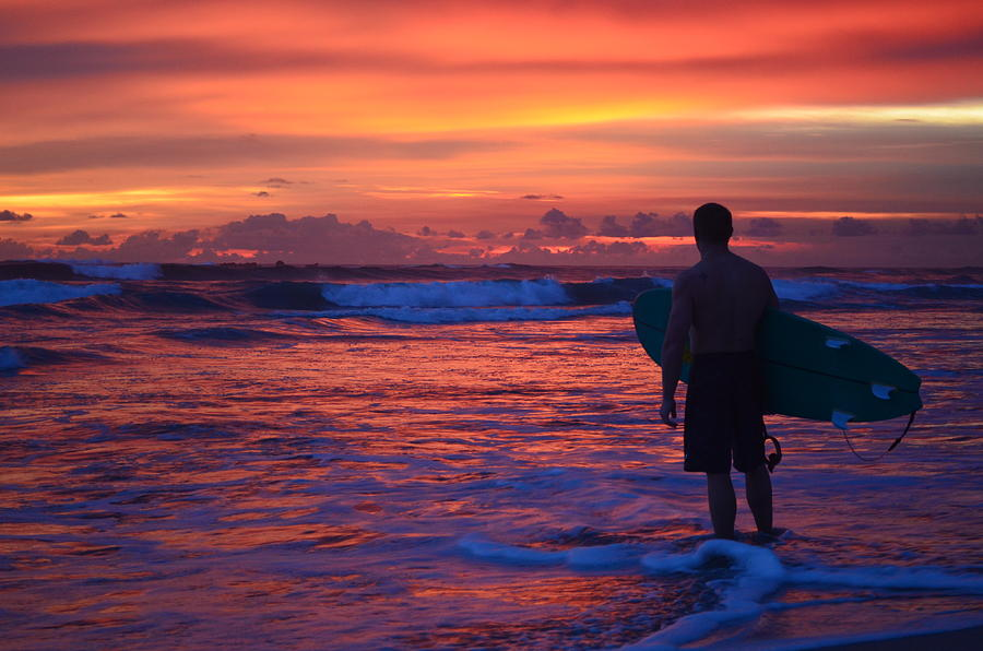 Surfer Sunset Costa Rica by Art Atkins