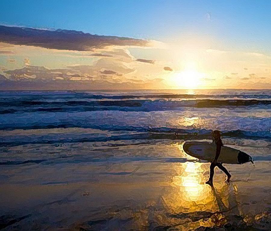 Ocean Painting - Surfer Sunset by Deborah Rosier