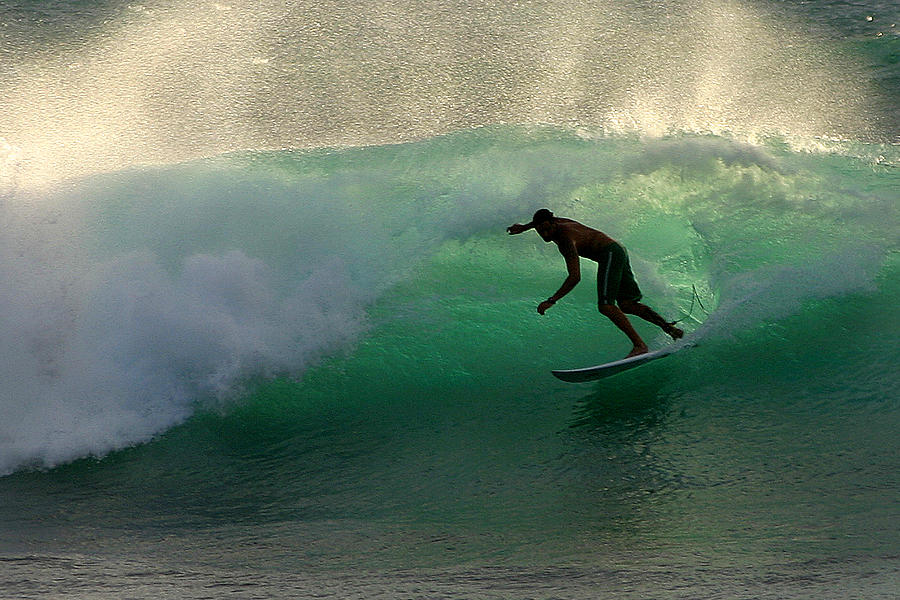 Surfer Photograph - Surfer Surfing Blue Waves At Dumps Maui Hawaii by Pierre Leclerc Photography