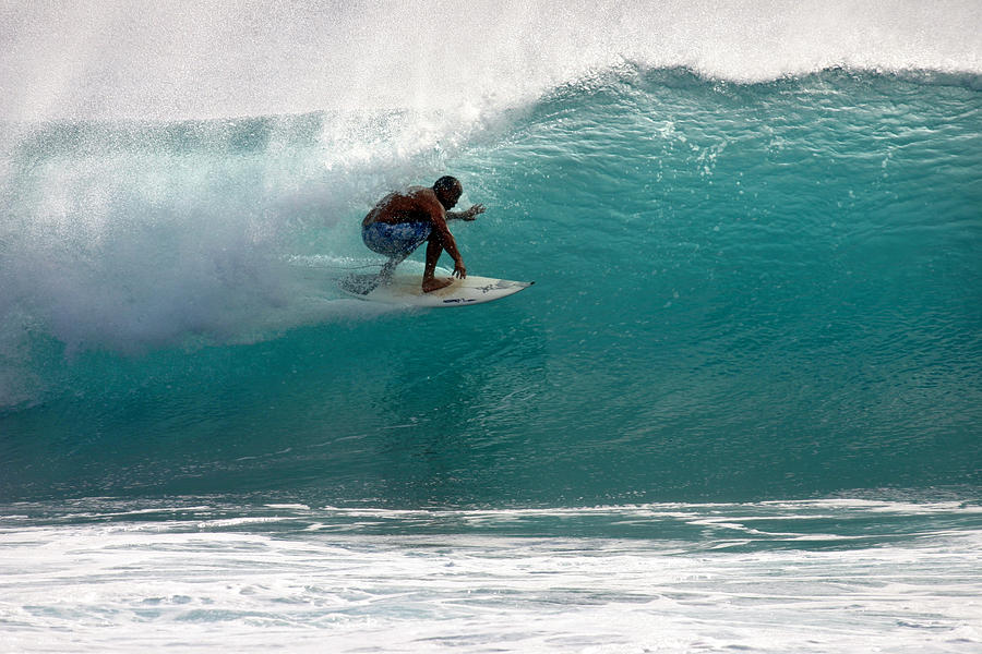 Surfer Photograph - Surfer Surfing In The Tube Of Blue Waves At Dumps Maui Hawaii by Pierre Leclerc Photography
