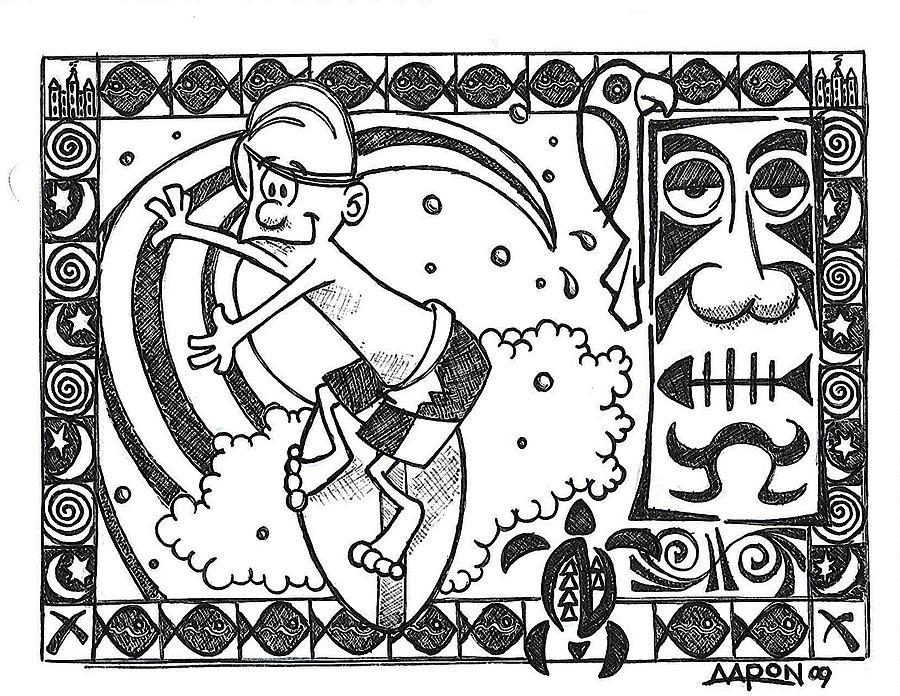 Surfing Digital Art - Surfer Toon 2 by Aaron Bodtcher
