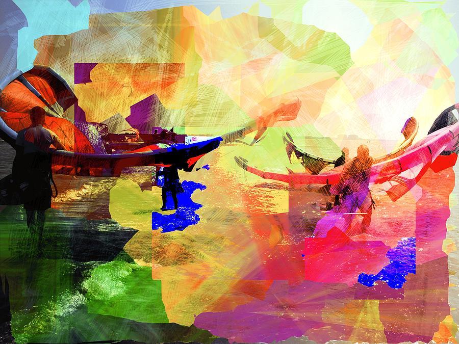 Seaside Digital Art - Surfers by Agnes V