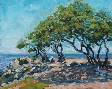 Blue Sky Painting - Surfers Beach by Kathy Busillo