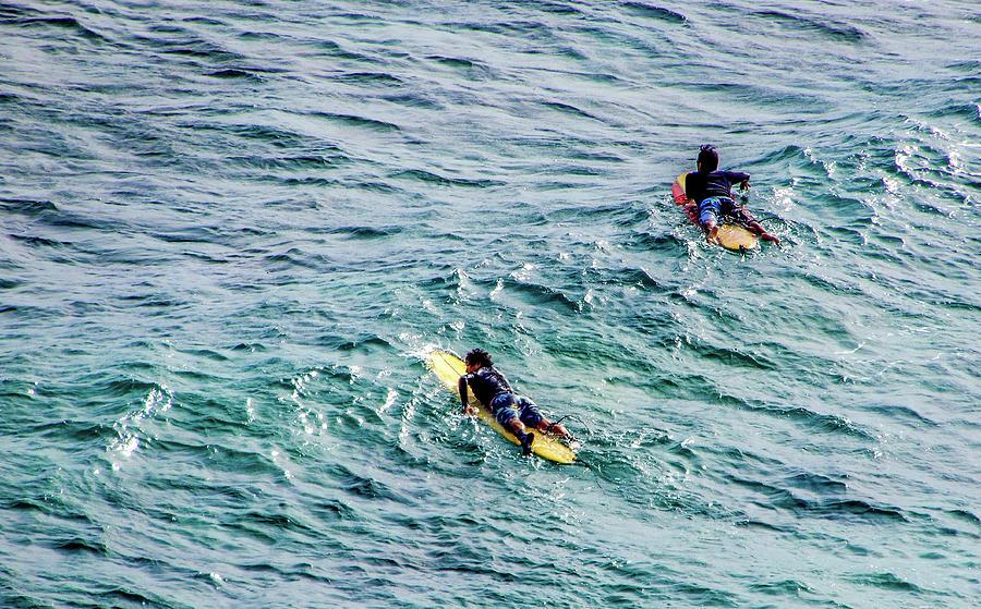 Diamond Head Beach Photograph - Surfers by Jera Sky