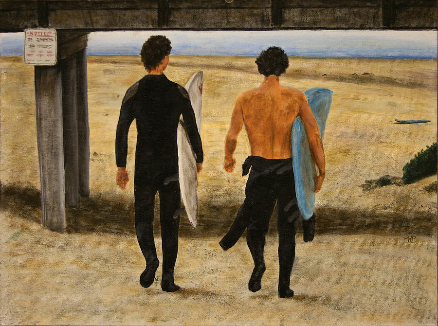 Surfers Painting - Surfers by Karen Peterson