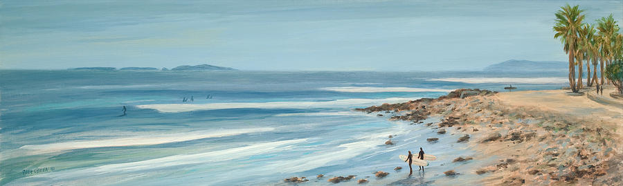 Surfers Painting - Surfers Point The Cove by Tina Obrien