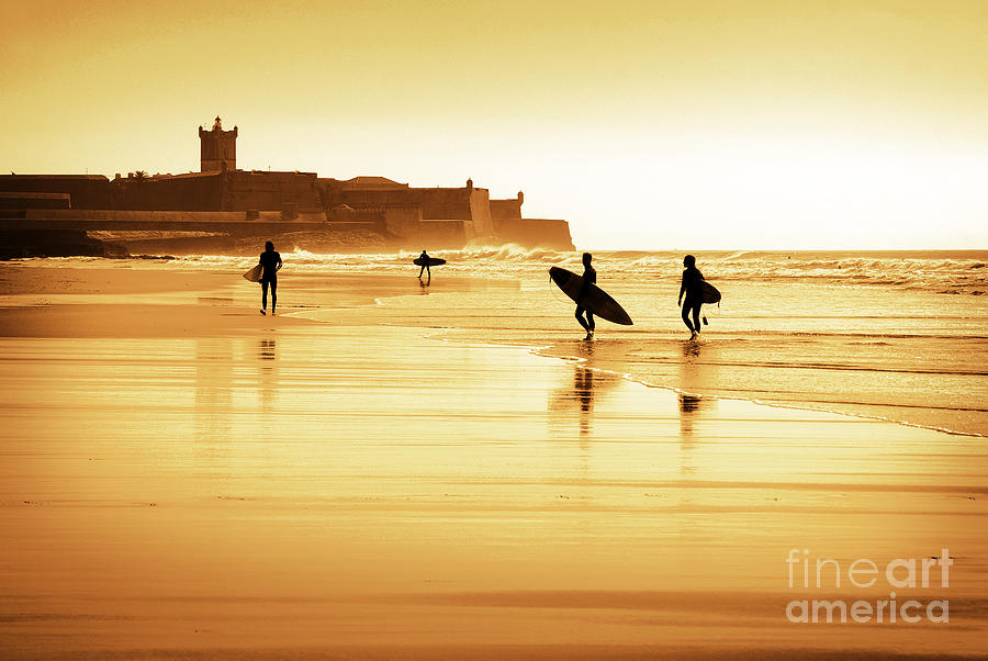 Action Photograph - Surfers Silhouettes by Carlos Caetano